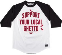 DGK Local 3/4 Sleeve Raglan, White Black