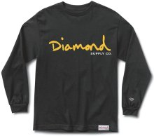 Diamond Supply Co OG Script LS Tee, Black