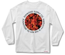 Diamond Supply Simplicity LS Tee, White Red