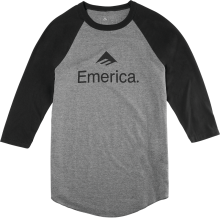 Emerica Skateboard 3/4 Sleeve Raglan, Black Charcoal