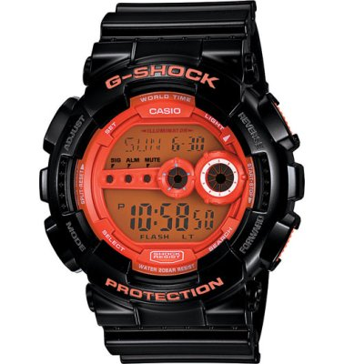 G-Shock Watch XL Series, Black Orange