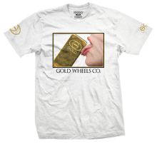 Gold Lick It Tee, White