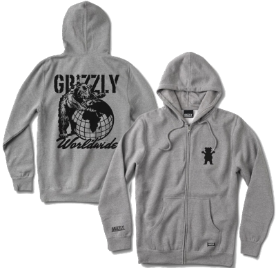 Grizzly All OverThe World Zip Hoodie, Heather Grey