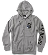 Grizzly Bad News G Zip-Up Hoodie, Heather Grey