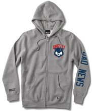 Grizzly Bad News Mascot Zip Hoodie, Heather Grey