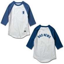 Grizzly Bad News Raglan Tee, White Royal