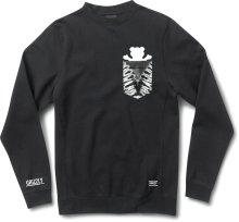 Grizzly Cascade Tie-Dye Pocket Crew, Black