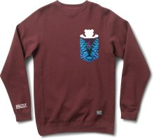 Grizzly Cascade Tie-Dye Pocket Crew, Burgundy