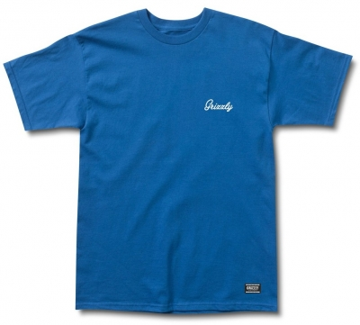 Grizzly Cursive Embroidered Tee, Royal Blue