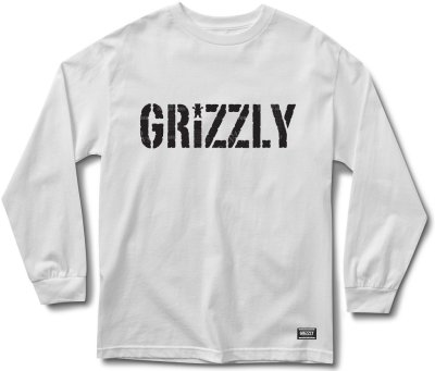 Grizzly Headlines LS Tee, White