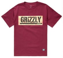 Grizzly Lands & Waters Camo Box Tee, Burgundy