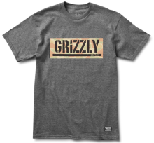 Grizzly Lands & Waters Camo Box Tee, Charcoal Heather