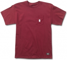 Grizzly OG Bear Embroidered Pocket Tee, Burgundy