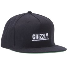 Grizzly Stamp Label Snapback Hat, Black