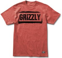 Grizzly Stencil Stamp Tee, Heather Red