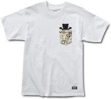 Grizzly Trail Map Pocket Tee, White