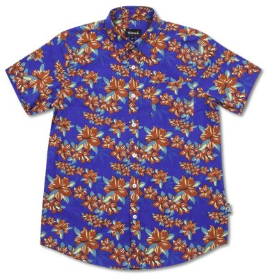 Grizzly Tropical high Woven Top, Royal