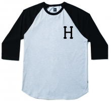 HUF Classic H Raglan, Heather Grey Black