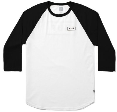 HUF Bar Logo 3/4 Sleeve Raglan, White Black