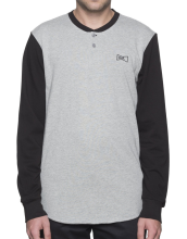 HUF Clubber Henley, Black Grey Heather