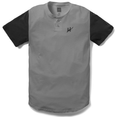 HUF Script Short Sleeve Henley, Athletic Heather Black