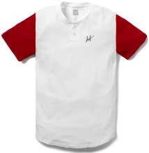 HUF Script Short Sleeve Henley, White Red