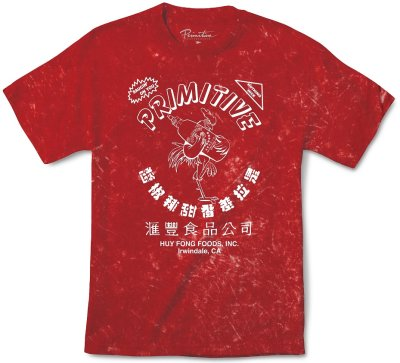 Primitive X Huy Fong Foods Tie Dye Tee, Red Acid Wash