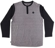 RDS Bedrock LS Henley, Dark Heather Grey Black