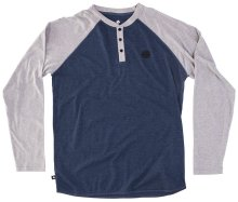 RDS Hermit LS Henley, Heather Navy Heather Grey