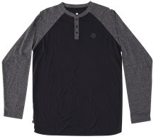 RDS Hermit Raglan Henley, Dark Heather Black