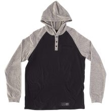 RDS Pouch Hooded Henley, Black Speckled Heather