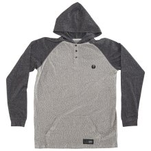 RDS Pouch Hooded Henley, Speckle Heather Dark Heather