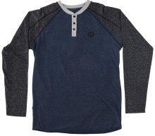 RDS Quarry Raglan LS Henley, Heather Navy Dark grey