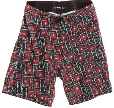 RDS Stacked Boardshorts, Black Red White