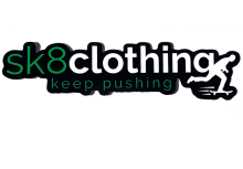 SK8 Clothing Keep Pushing Sticker, Black