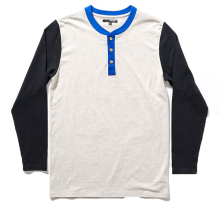The Quiet Life Cut & Sew Henley. Black Grey Blue